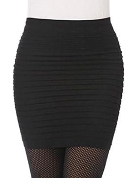 Culater Faldas Cortas Elástico translúcido plisado alta cintura paquete cadera