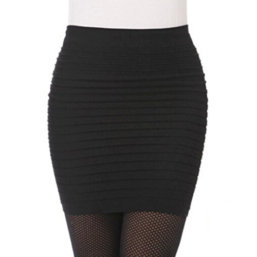 Culater Faldas Cortas Elástico translúcido plisado alta cintura paquete cadera (Negro)