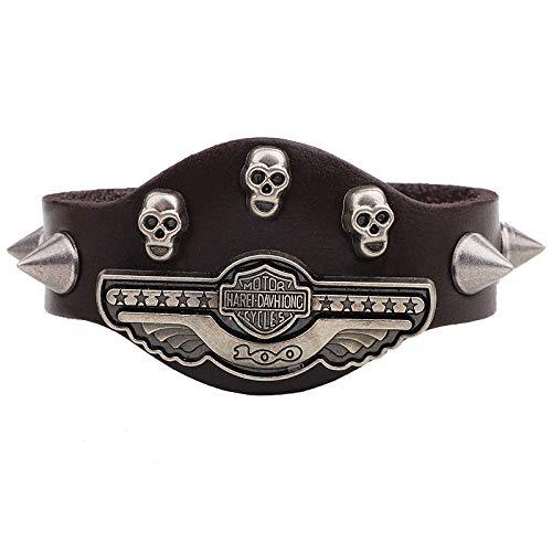SNHWARE Bracelet Pour Homme Halloween Devil Skull Personnalité Bracelet en Cuir véritable
