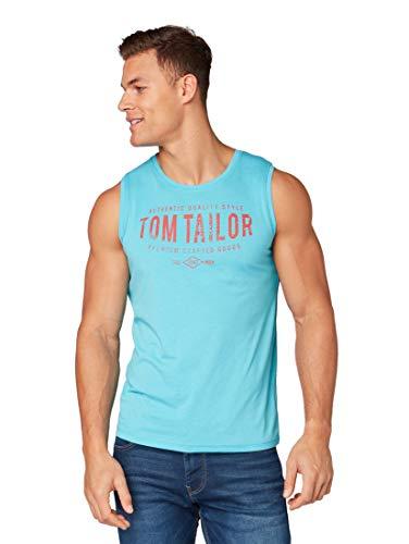 TOM TAILOR für Männer T-Shirts/Tops Tanktop mit Print Aqua Blue White Melange, L - Aqua-Ärmelloses Top