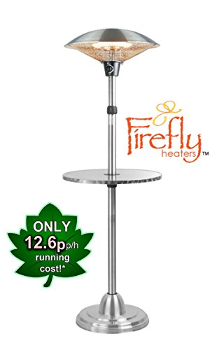Firefly 2.1Kw Freestanding Outdoor Patio Heater With Table IP44 Adjustable Stainless Steel