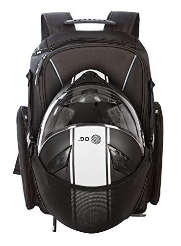 OG Online&Go Motorrad-Rucksack GO Schwarz Wasserdicht, 20L-30L, Motorradhelm-Tasche, Helm-Trageriemen, Biking, Mann, Laptop-Fach, Reflektierend