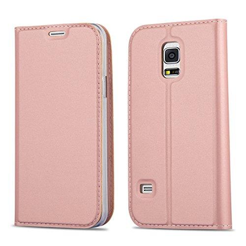Cadorabo Hülle für Samsung Galaxy S5 Mini / S5 Mini DUOS - Hülle in ROSÉ Gold – Handyhülle mit Standfunktion und Kartenfach im Metallic Look - Case Cover Schutzhülle Etui Tasche Book Klapp Style