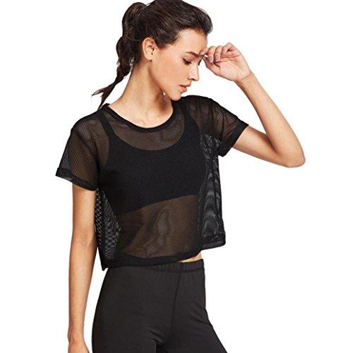 UBabamama Bluse für Damen, Schwarz, Netzstoff-Decken Meshed Top Tanz Fitness T-Shirt, Kurzarm Crop Tops T-Shirt schwarz Schwarz - Werfen Decke ärmel