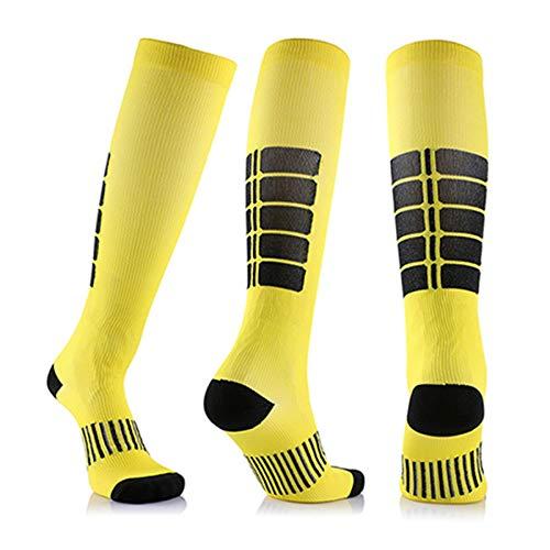 3 Para Antifatigue Unisex Kompressionsstrümpfe Strümpfe Kompression Compression Socks Medizinische Krampfadern Bein Relief Schmerzen Gelb X-Large -