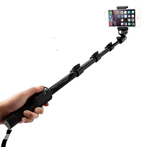 Inditradition Selfie Stick With Bluetooth Remote, Extendable Up to 113.5 CM, Black