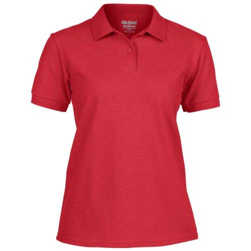 Gilan Damen Dryblend Pikee Poloshirt, Kurzarm Rot