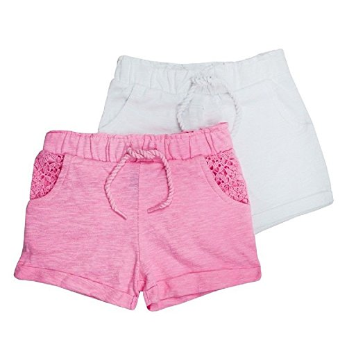 Dunnes 2 Pack Baby Girl Shorts Girls Toddler Summer Beach Twin Pack Pink & White (2-3 Years)