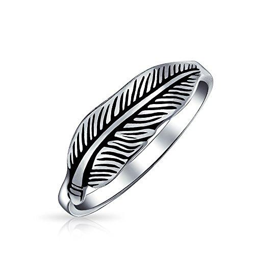 Regali di natale Bling Jewelry ossidato argento Sterling Feather natura Anello Foglia