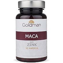 Goldman Maca mit Zink • 90 Kapseln hochdosierte Macawurzel • Superfood aus Südamerika • Vegan, laktosefrei, glutenfrei, zuckerfrei • Keine Magnesiumsalze • Made in Germany