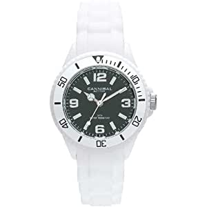 Cannibal Kid's Quartz Watch with Black Dial Analogue Display and White Silicone Strap CK215-01A