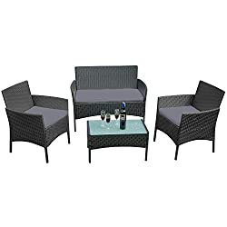 SAILUN Outdoor Patio Furniture Sets Rattan Chair Wicker Set for Outdoor Indoor Backyard Porch Garden Poolside Balcony Furniture Sets Include Table Chair Loveseat Sofa Cusion Anthracite Set of 4