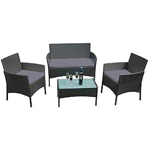 UISEBRT Gartenmöbel Poly Rattan Balkonmöbel Sitzgruppe Lounge Set – Mit 2-er Sofa, Singlestühle, Tisch und Anthrazit…