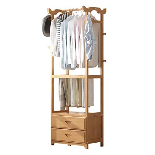 Hongbanlemp Bambus Kleiderbügel tragbare übergroße kleine Kleiderständer 2 Schubladen Aufbewahrungsbox for Eingang und Schlafzimmer (Größe : M)