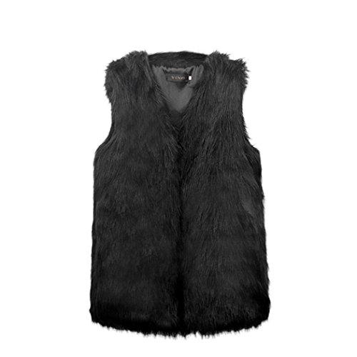 MIOIM Fellweste Damen Elegant Winter Weste Fell Jacke Fellweste ärmellos Pelz Westen Kunstpelz Faux Fur Vest Schwarz S (Weste Damen Fell)