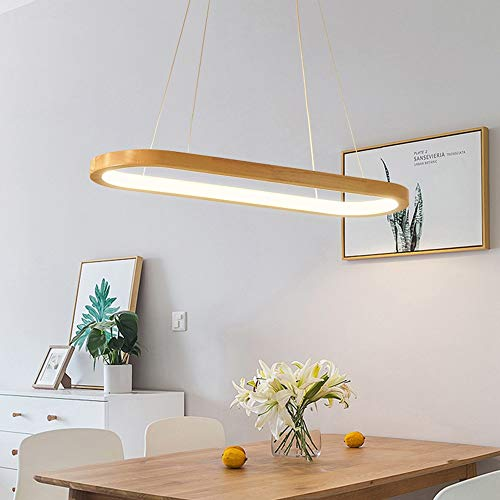 zZZ Nordic Modern Minimalist Restaurant Kitchen Chandelier Led Living Room Bedroom Bar Desk Long Strip Wood Lámpara De Techo Decorativa 70x20cm Candelabro de Moda