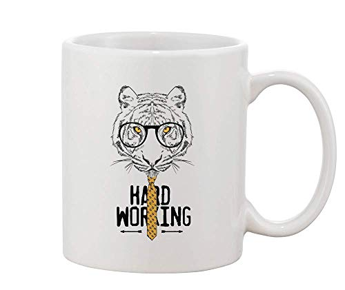 (Finest Prints Hard Working Tiger with Glasses and A Tie White Ceramic Coffee and Tea Mug)
