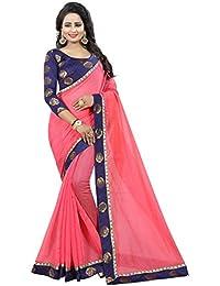 Vastrang Women's Chanderi Cotton Saree With Blouse Piece(1312ROSPNK_Pink_Free Size)