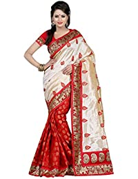 Maacreation Women's Art Silk Saree (Red & Off-White )