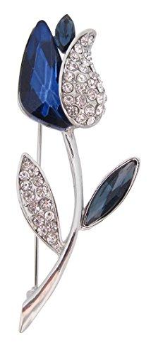 Brooch Boutique-Spilla a forma di tulipano con zaffiro blu e cristallo trasparente placcato argento regalo per la festa della mamma
