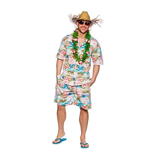 Preisvergleich Produktbild Mens Hawaiian Party Guy Luau Summer Beach BBQ Shirt & Shorts Fancy Dress Pink Floral Costume