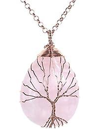 Jovivi - Colgante de árbol de la vida enrollado en alambre de cobre con piedra en el interior, cadena de 80cm de oro rosa