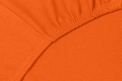 Double Jersey - Spannbettlaken 100% Baumwolle Jersey-Stretch bettlaken, Ultra Weich und Bügelfrei mit bis zu 30cm Stehghöhe, 160x200x30 Orange - 5