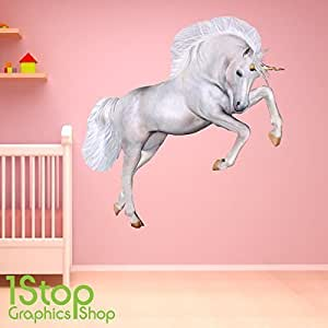 1Stop Graphics Shop UNICORN WALL STICKER FULL COLOUR - GIRLS ENCHANTED FAIRY PRINCESS C402 Size: Large