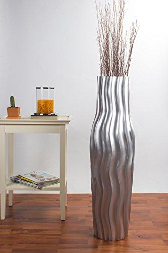 Jarrón de Suelo 90 cm, Madera de Mango, Plateado