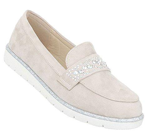 Damen Halbschuhe Schuhe Slipper Loafer Mokassins Flats Slip On Schwarz Beige Grau Pink 36 37 38 39 40 41 Beige