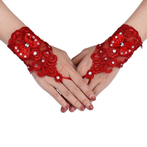 Hunpta Strass Spitze Bräute Hochzeit Blumen Bowknot fingerlose kurze Handschuhe (Handschuhe Spitzen Kurze Rot)