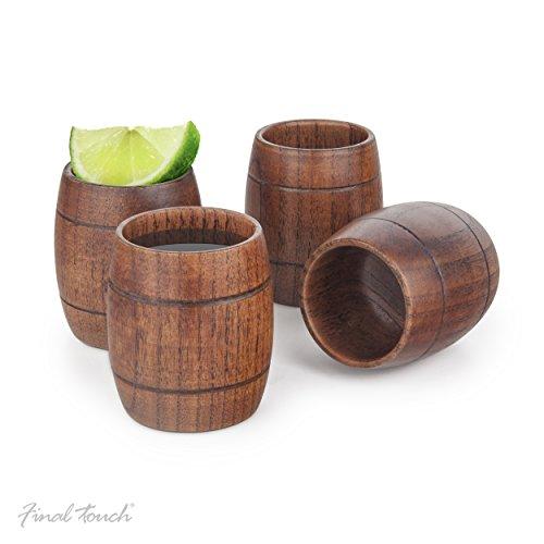 Final touch Wood Barrel bicchierini–vecchio barile di legno a tema bere set di 4GG1003