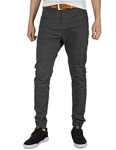 ITALY MORN Herren Chino Jogger Hose Sweatpants Elastisch Manschette Hose Jogging Baggy Hose Slim Trainings Pants Twill Schwarz (Small, Dunkelgrau) (Herren-pants Elastische)