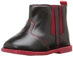 Rugged Bear RB24335 Boot (Infant/Toddler), Black/Red, 4 M US Toddler