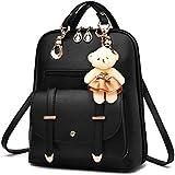 Women's Backpack Purse Pu Leather Ladies Casual Shoulder Bag School Bag for Girls-Black