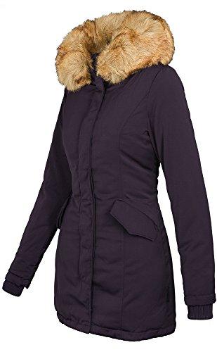Marikoo Damen Winter Jacke Parka Mantel Winterjacke warm gefüttert B362 (XL, Lila)