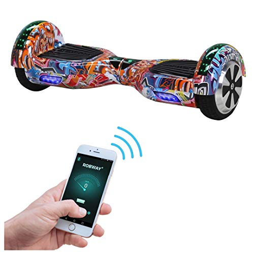 Robway W1 Hoverboard - Das Original - Samsung Marken Akku - Self Balance - 22 Farben - Bluetooth - 2 x 350 Watt Motoren - App - Led (Grafit Orange)