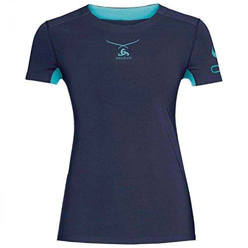 Odlo Damen Shirt S/S Crew Neck Ceramicool Print Unterhemd turquoise