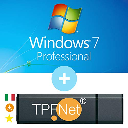 MS Windows 7 Pro 32 & 64 bit - Licenza Originale con Chiavetta USB Avviabile di TPFNet