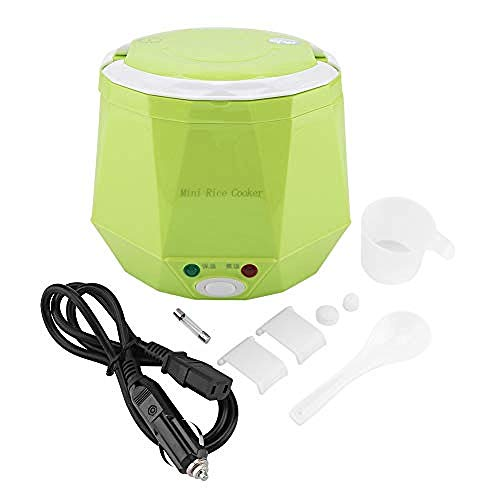 Hylph Eierkocher für Autos 12 V 100 Watt 1 3 L Elektrische Tragbare Multifunktionale Reiskocher Dampfgarer für Autos Kochen Reiskocher (Grün)