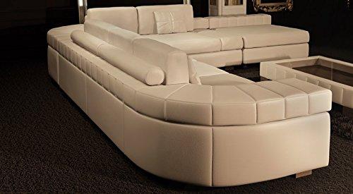 Ledersofa Sofagarnitur Couchgarnitur weiß Ledercouch 3-Sitzer + Daybed + XL Hocker Ecksofa Couch Design Sofa VALENTINO - 2