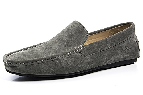 OZZEG Men's Leder Loafer Schuhe feste Farbe Moccasin Fashion Designed Grau