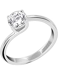 Valentine Gift : Peora Rejoice Solitaire Ring In 925 Sterling Silver CZ For Women (Silver) (PR8096)