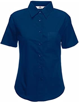 Nuevo Fruit of the Loom Lady-Fit Camiseta de manga corta formal wear camisa de popelina azul azul marino Large