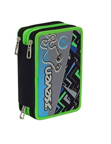 Astuccio scuola seven - widget - 3 scomparti - pennarelli matite gomma ecc.. nero verde