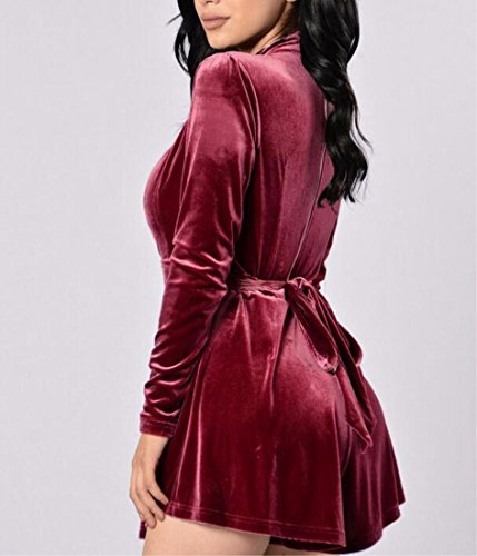 QIYUN.Z Femmes Deep V Neck Midriff Lacet-Up Tunique Court Jambes Jumpsuits Rompers Rouge