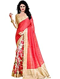 Being Banarasi Women's Bhagalpuri Cotton Silk Half & Half Printed Saree With Blouse Piece(BB_Sanskruti_Color )