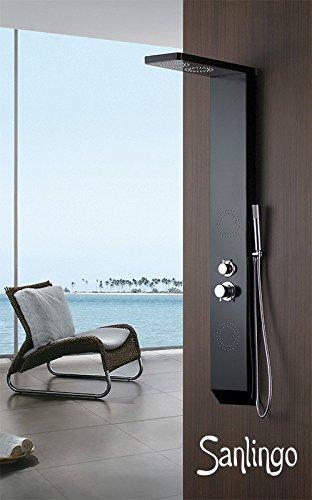 Schwarzes Aluminium Duschpaneel Duschsäule mit Regendusche und Massagedüsen in schwarz von Sanlingo