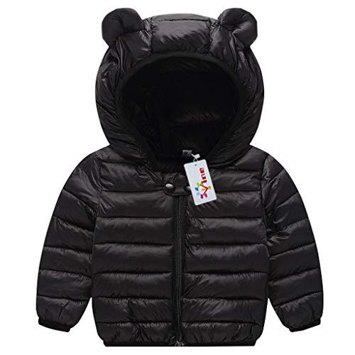Bambino piumino inverno giacche di piuma cappotto con cappuccio ragazzi ragazze leggero giubbotti nero 6-12 mesi