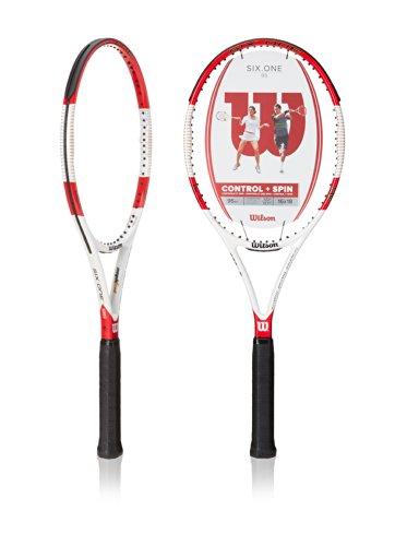 Wilson Raquette de Tennis , Six.One 95, Unisexe, pour Joueurs Confirmés, Taille de Manche L3, Rouge/Gris, WRT73650U3